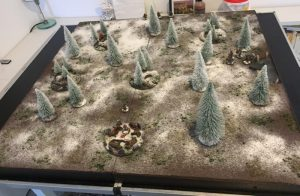 How to build a winter wargaming table - play testing on the finished gaming table