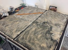 How to build a winter wargaming table - applying grid to the gaming table
