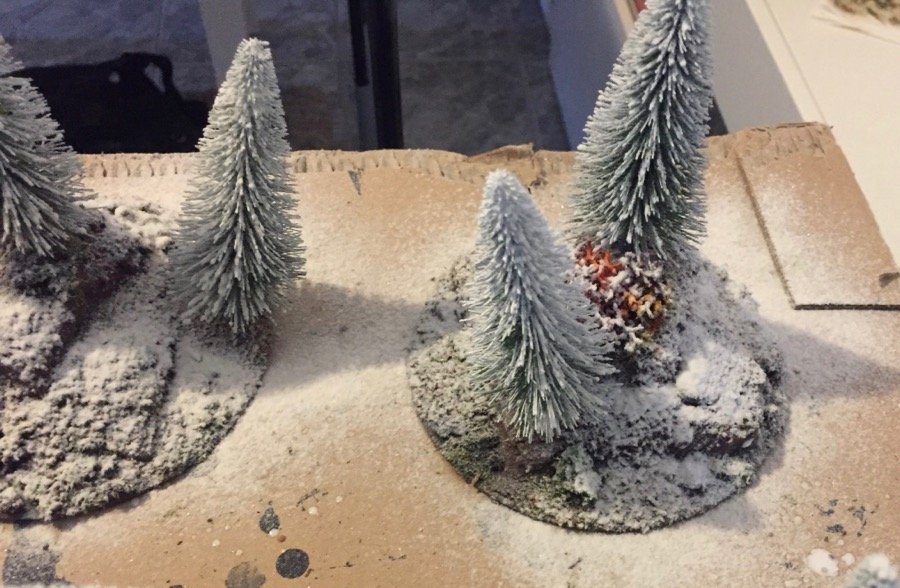 how to build a winter forest for wargaming applying the snow