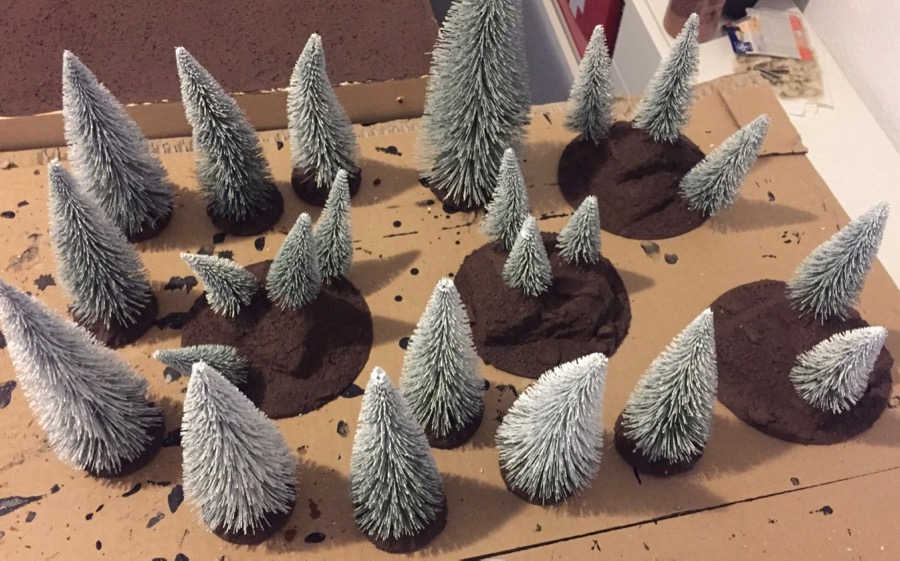 how to build a winter-forest for wargaming applying the base coat