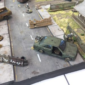 The Walking Dead gaming table barricade